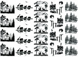Wildlife Scenes  Black 827 or White 1124 Fused Glass Decals