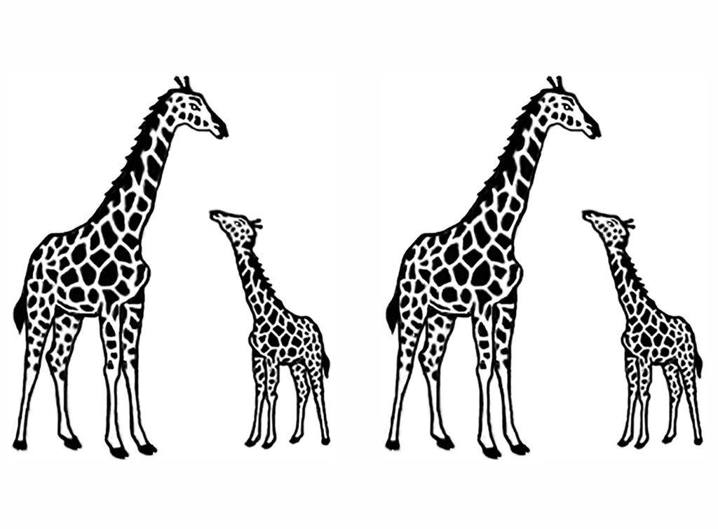 "Giraffe Mama and Baby 2""  (2 pcs)  Black #833 Fused Glass Decals"