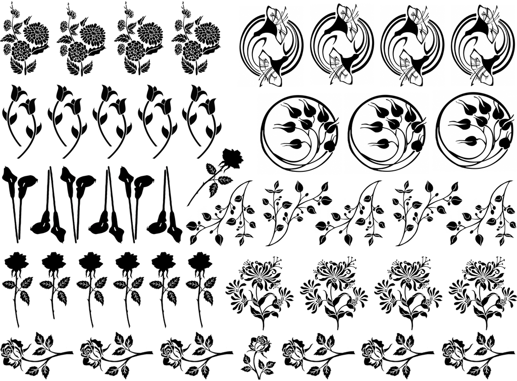 Spring Flowers  Black #837 Fused Glass Decals