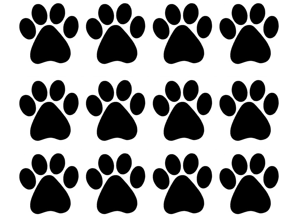 "Paw Prints 12 pcs 1""  Black #850 Fused Glass Decals"