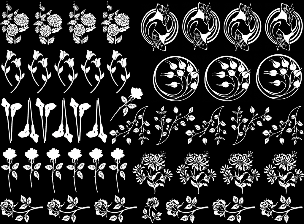 Spring Flowers  White  #861 Fused Glass Decals
