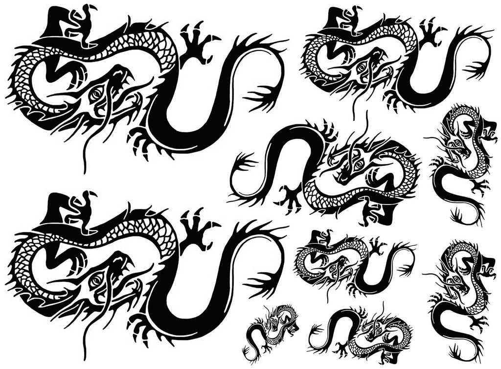 Chinese Dragons Large  Black #868 Fused Glass Decals
