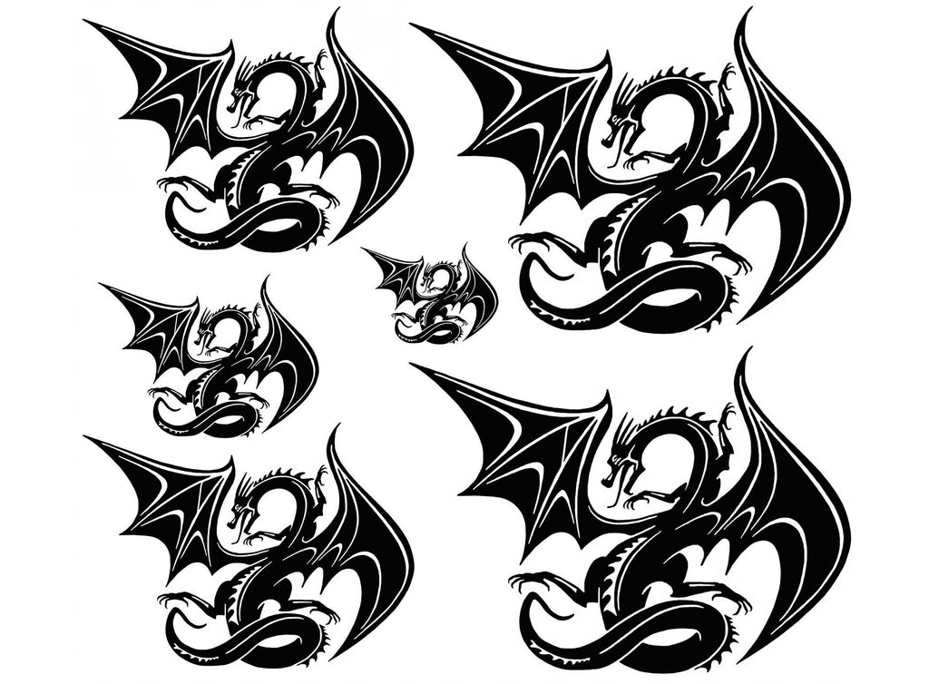 Mystical Dragons Large  Black #871 Fused Glass Decals