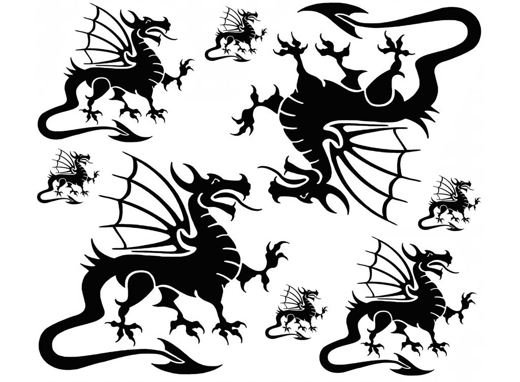 Welsh Dragons Large  Black #872  Fused Glass Decals