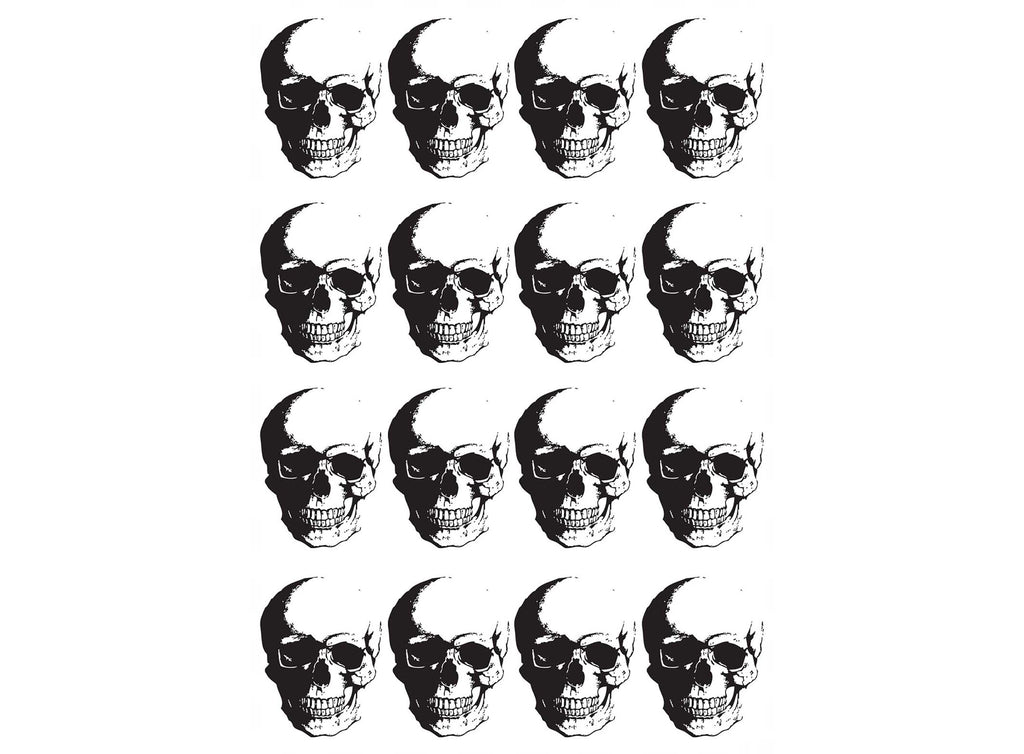 "Fierce Skull (16 pcs)  1-1/8"" Black #878 or White #913 Fused Glass Decals"