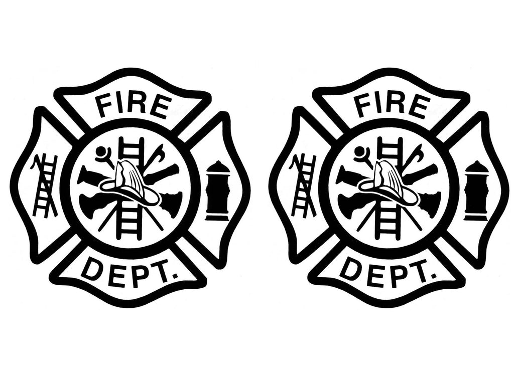 "Firefighter's Maltese Cross  (2 pcs)  2-7/8"" Black #880 Fused Glass Decals"