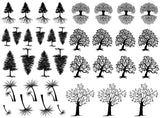 "Tree Curly Q  1/2"" to 1-1/4""  Black #882 or White #784 Fused Glass Decals"