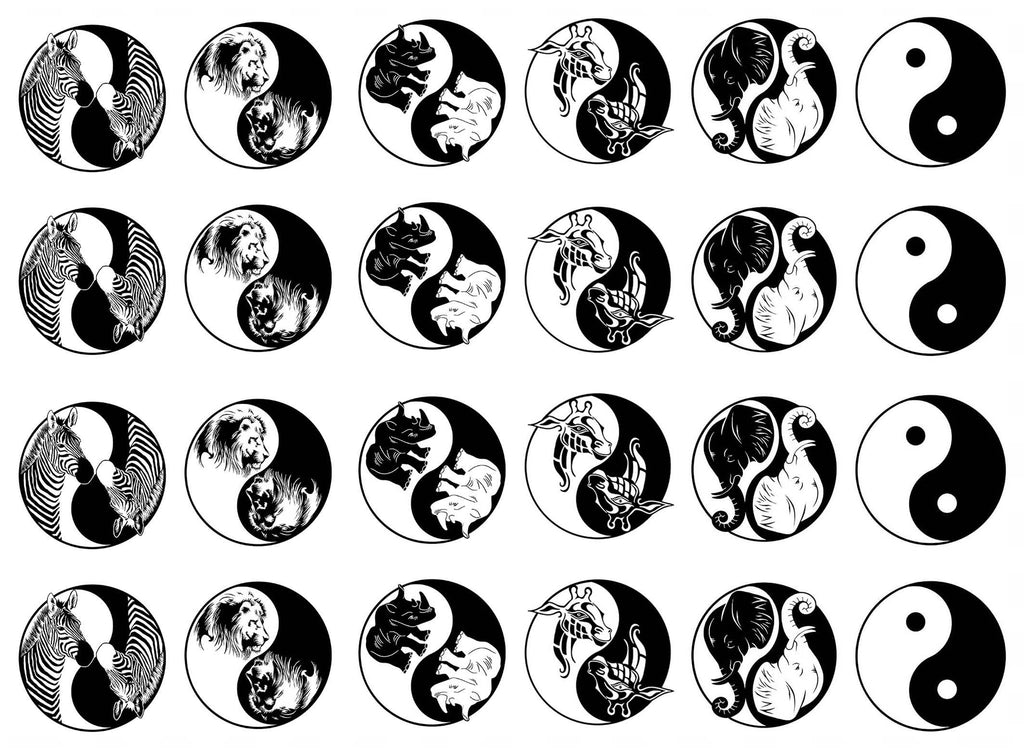 Yin Yang African Animals  Black #887 Fused Glass Decals