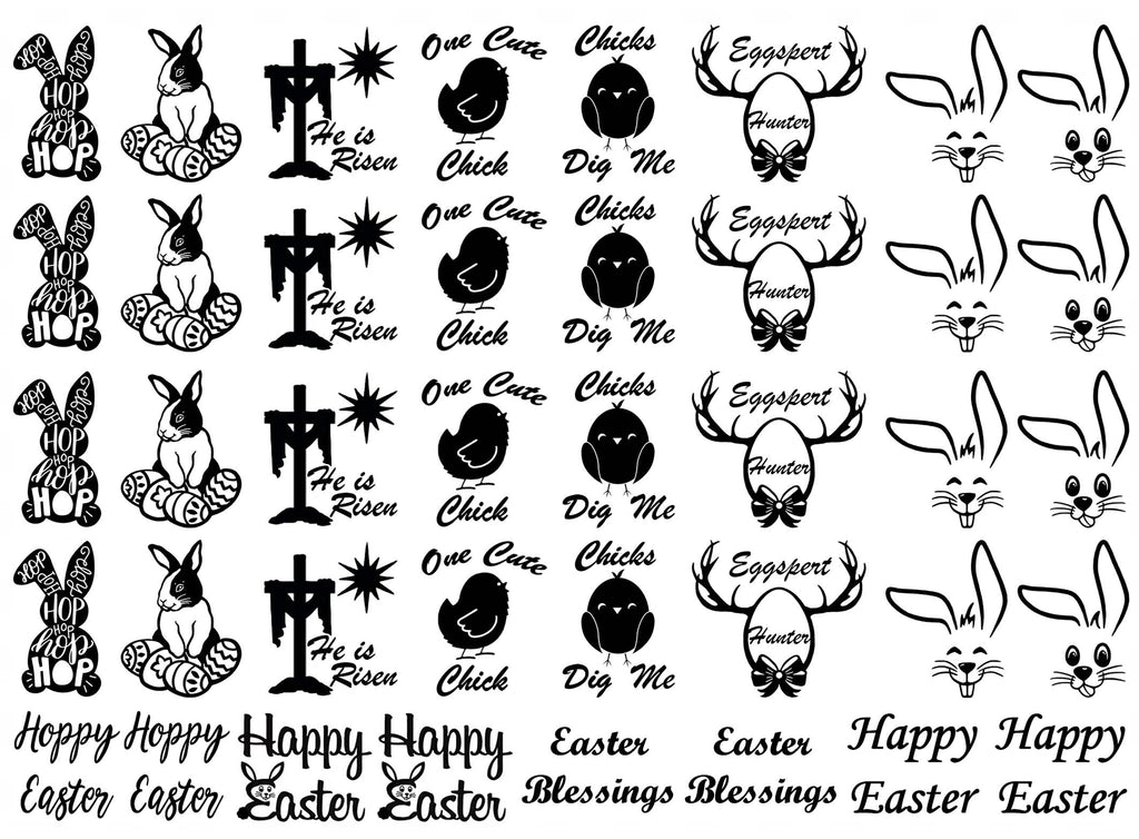 "Easter Sketch  1""  Black #894 Fused Glass Decals"