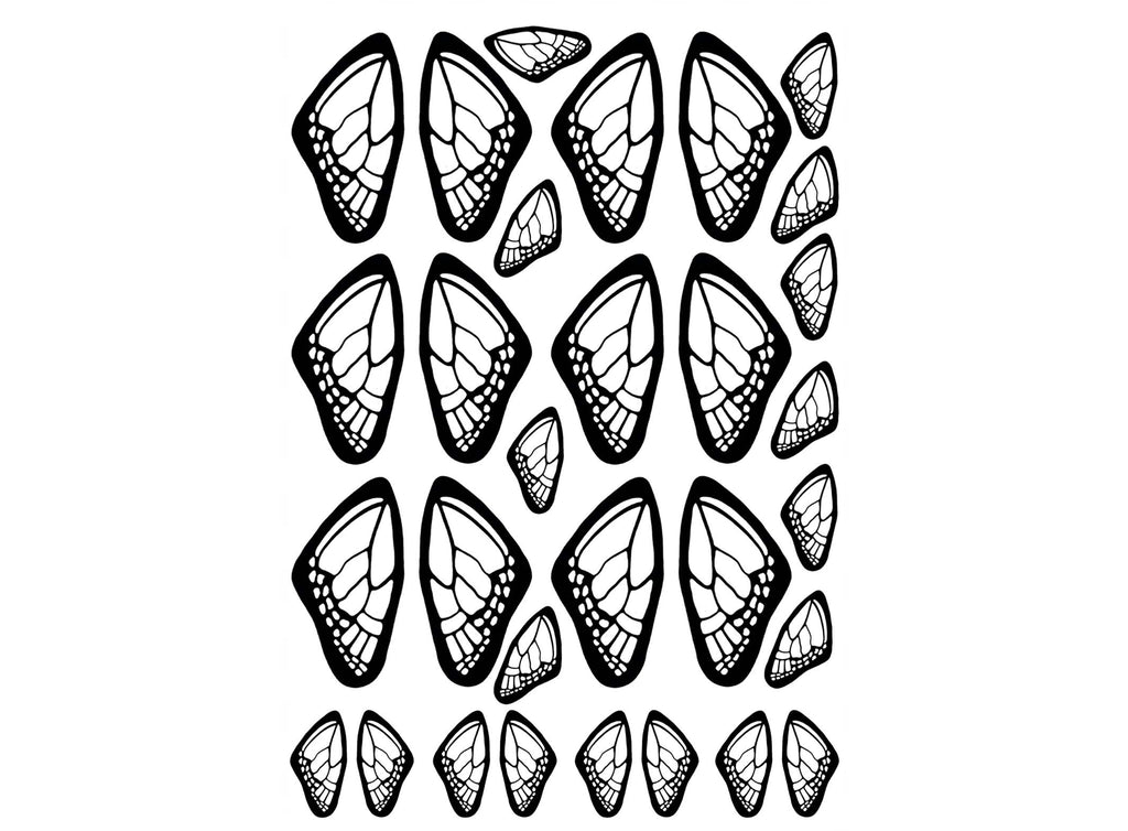 "Butterfly Wings  3/4"" and 1-3/8""  Black #896 or White #951 Fused Glass Decals"