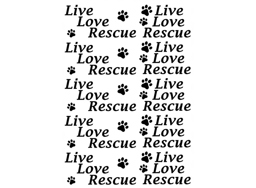 Live Love Rescue  Black #897 Fused Glass Decals