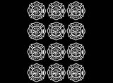 "Firefighter's Maltese Cross  (12 pcs)  1-1/8"" Black #879 or White #914 Fused Glass Decals"