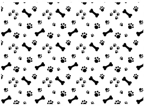 "Allover Dog Bones Paw Prints  5"" X 7"" Card  Black #1008 Fused Glass Decals"