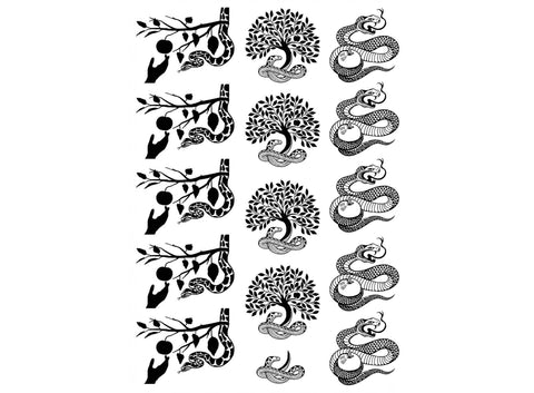"Apple Tree Snake 15 pcs  5"" X 3-1/2"" Black #1012 Fused Glass Decals"