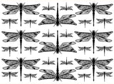 "Dragonflies 2-1/2"" Black #1020 or White #1033 Fused Glass Decals"