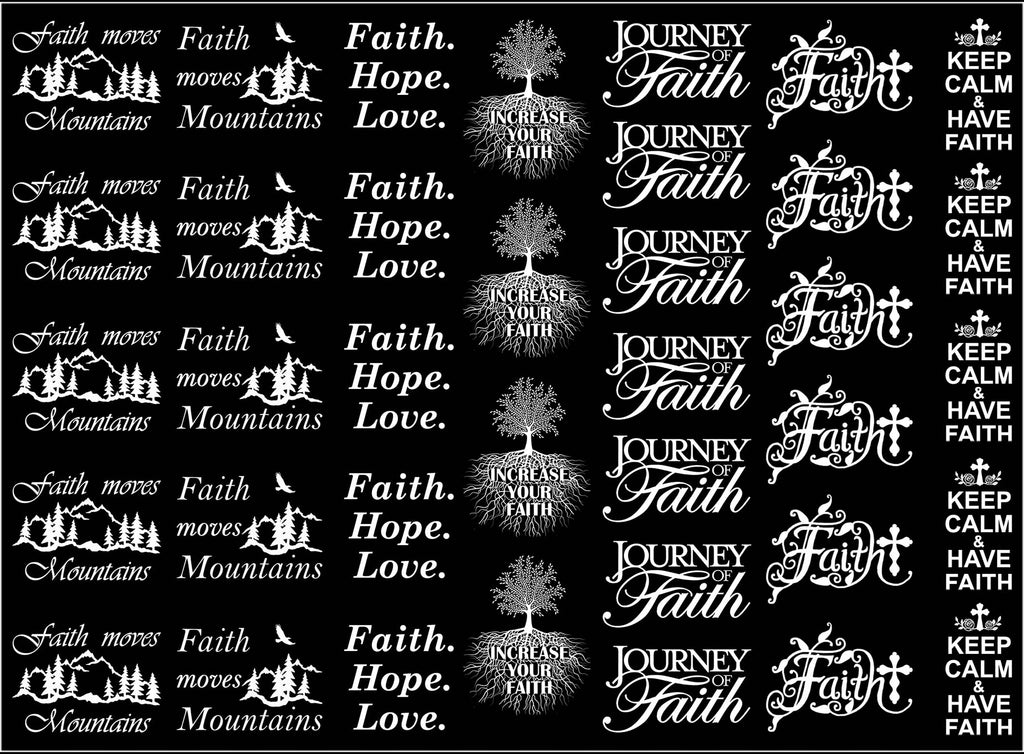 "Faith  5"" X 7"" Card  White #1026 Fused Glass Decals"