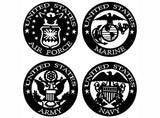 "Air Force Marine Army Navy 4 pcs 2""  Black #1061 White #1062 Fused Glass Decals"