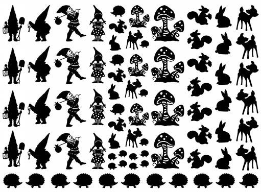 "Gnome Garden  5"" X 7"" Card  Black #1064 Fused Glass Decals"