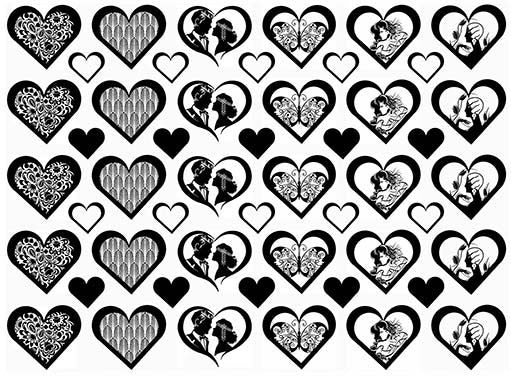 "Art Nouveau Hearts  5"" X 7"" Card  Black #1066 Fused Glass Decals"