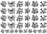 "Butterfly Garden  5"" X 7"" Card  Black #1070 or White #1078 Fused Glass Decals"
