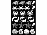 "Sea Life 25 pcs 1"" Black #1133 or White #1084 Fused Glass Decals 5"" X 3.5"" Card"