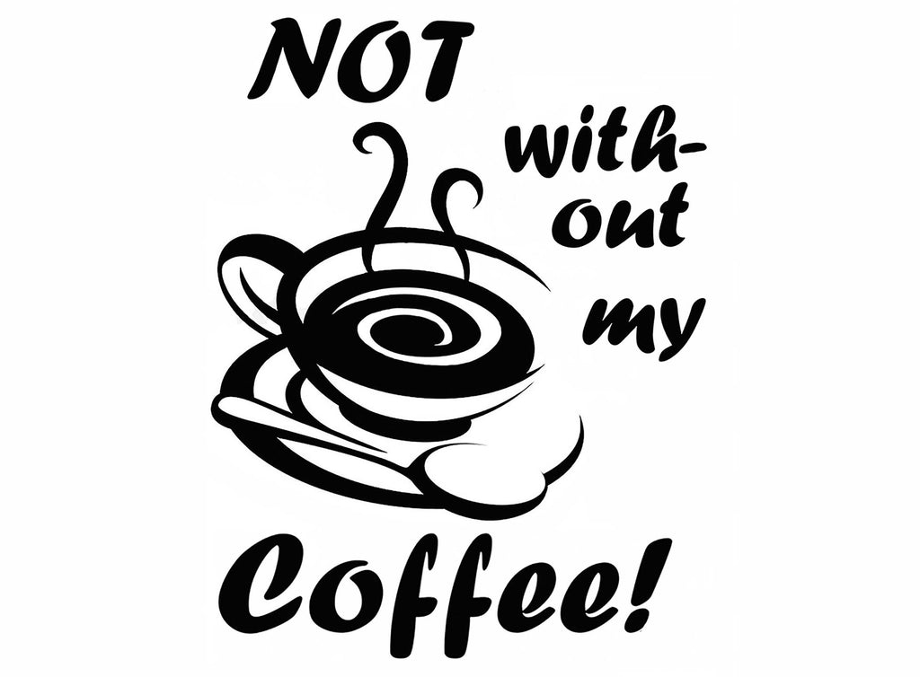 Not without my coffee!  2 pcs Black #1099 Fused Glass Decals