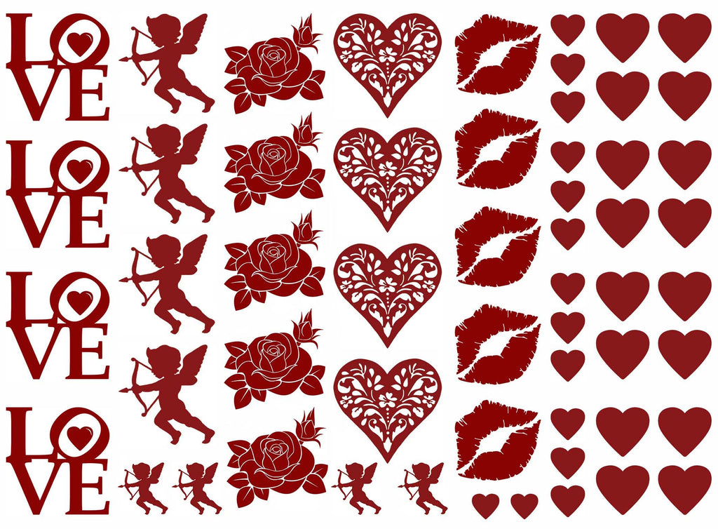 "Valentine Fun 5"" X 7"" Card  Red #1101 Fused Glass Decals"
