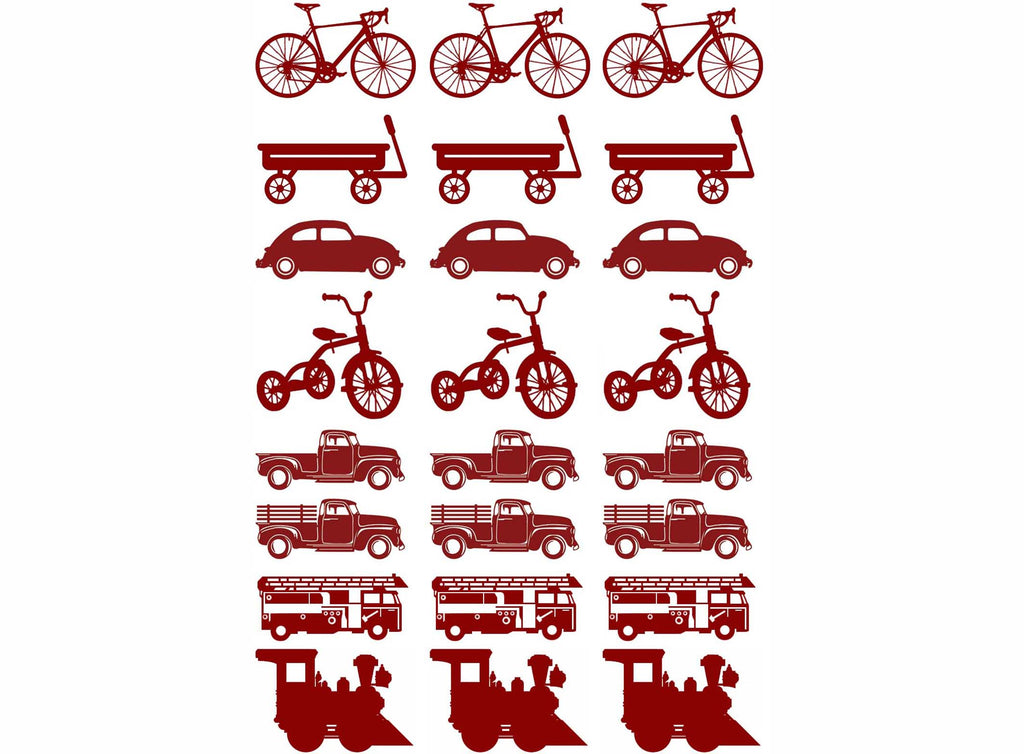 Bike Wagon Truck Train Red #1106 Fused Glass Decals