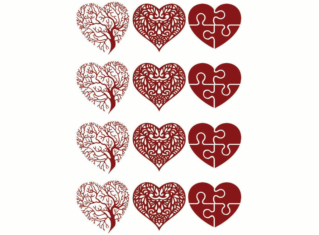 "Heart Tree Lace Puzzle 1-1/8"" Red #1113 Fused Glass Decals"