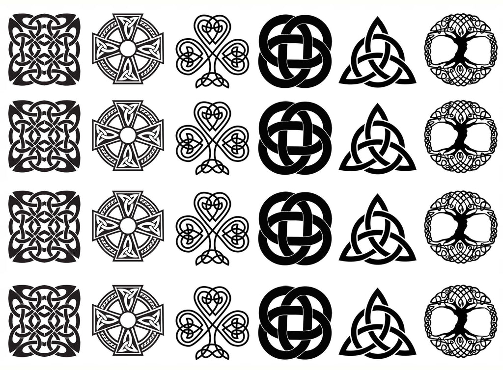 "Celtic Knot Six 1""  Black #941 Fused Glass Decals"