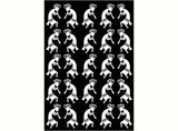 "Kokopelli Twins 1""  Black #900 or White #953 Fused Glass Decals"