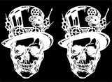 "Steampunk Skull (2 pcs)  3-7/8"" X 2-3/4"" Black #940 or White #958 Fused Glass Decals"