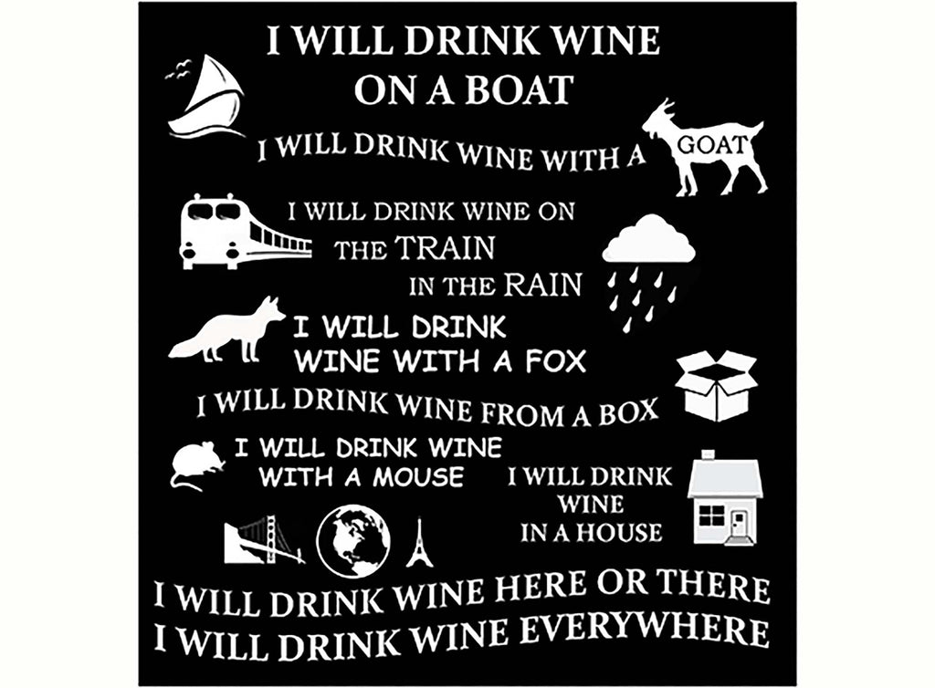 "Wine Poem   3-3/4""  Black #680 or White #959 Fused Glass Decal"