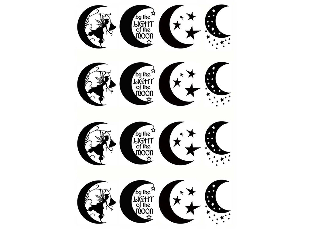 "Crescent Moon Fun 1""  Black #998 Fused Glass Decals"