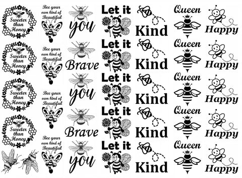 "Bee Inspired 5"" X 7"" Card  Black #1085 Fused Glass Decals"