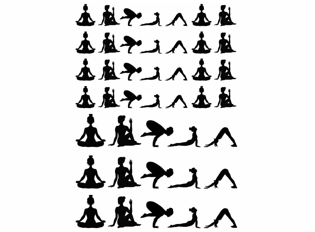 "Yoga Time 43 pcs on 5"" X 3-1/2"" card Black #1090 Fused Glass Decals"
