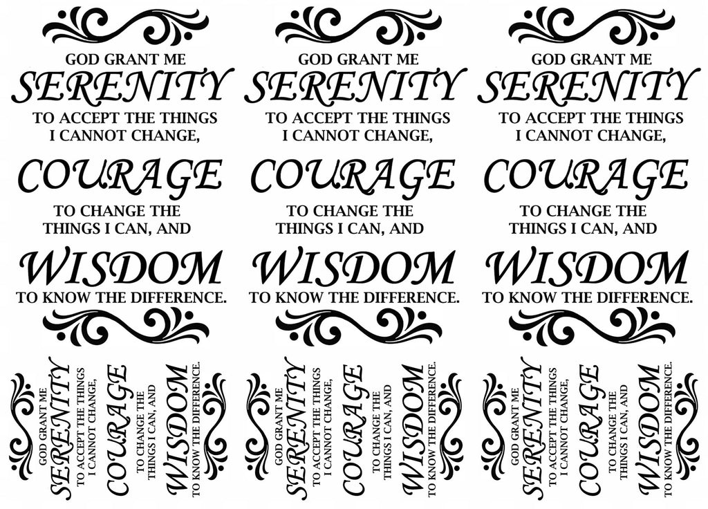 "Serenity Prayer 5"" X 7"" Card  Black #1096 Fused Glass Decals"