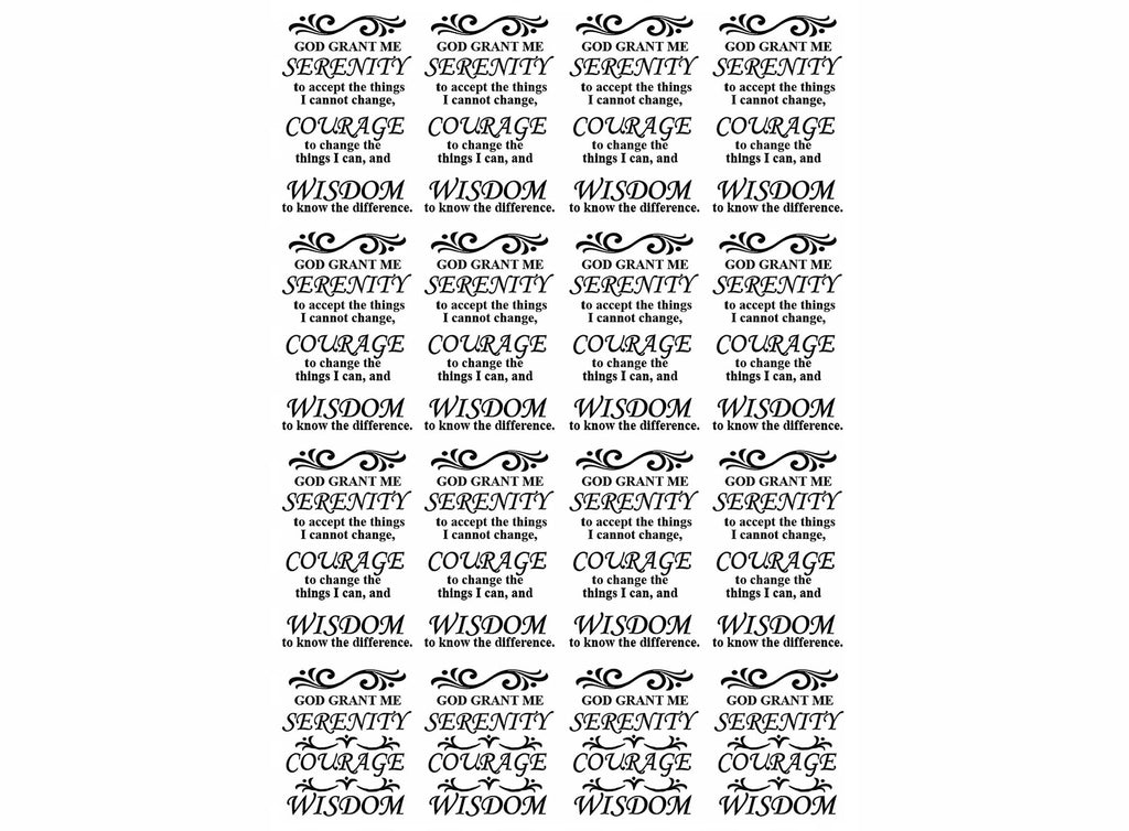 "Serenity Prayer 16 pcs 1-1/4"" X 3/4"" on 5"" X 3-1/2"" card Black #1097 Fused Glass Decals"