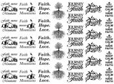 "Faith  5"" X 7"" Card  Black #1132 or White #1026 Fused Glass Decals"