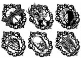 "Gothic Cameo Raven Heart Skull  5"" X 7"" Card  Black #1136 White #1031 Fused Glass Decals"