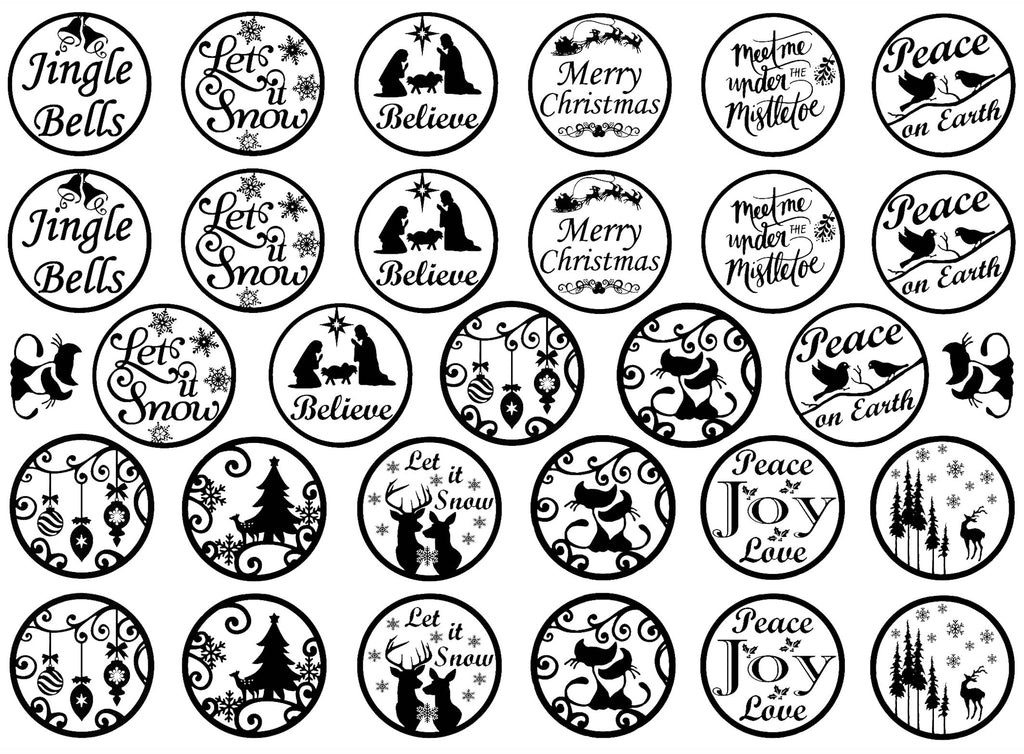 "Christmas Rounds 31 pcs 1"" dia on 5"" X 7"" Card  Black #1145 Fused Glass Decals"