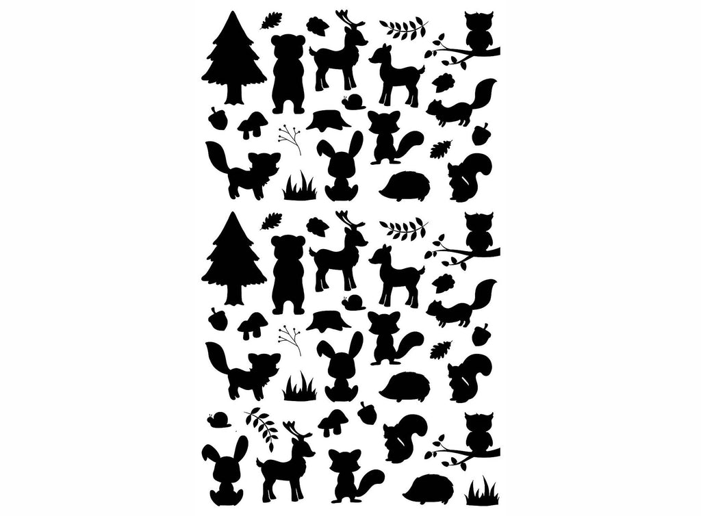 "Forest Bits 57 pcs on 5"" X 3-1/2"" card Black #1150 Fused Glass Decals"