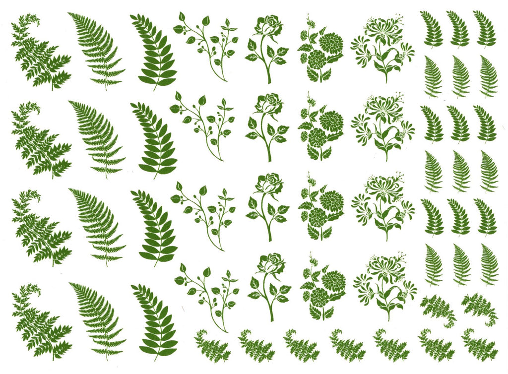 Flowers Fronds Green  #1158 Fused Glass Decals
