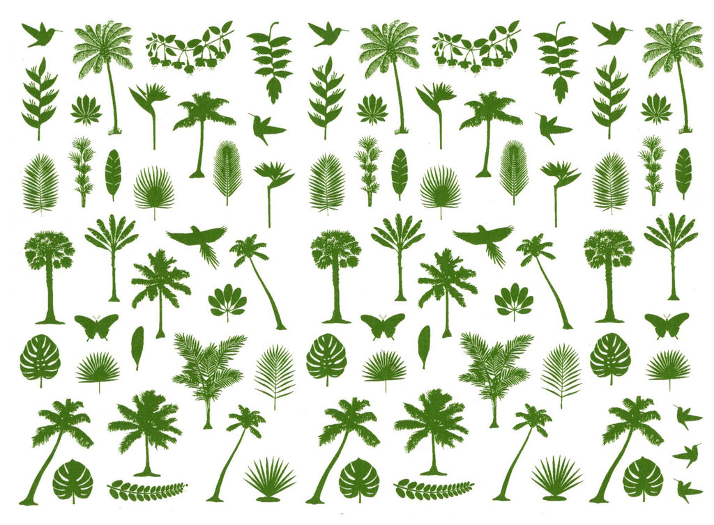 Tropical Palm Trees Fronds Birds Green  #1161 Fused Glass Decals