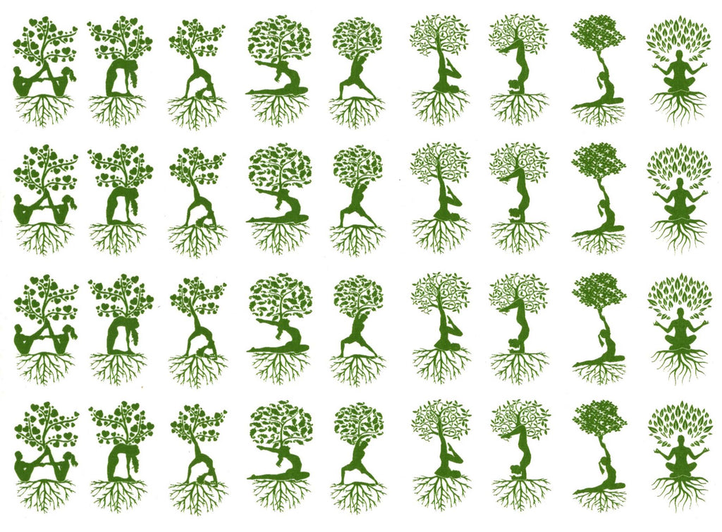 Yoga Tree People Green  #1163 Fused Glass Decals