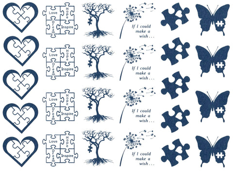 "Autism Awareness 26 pcs 1"" Blue #1176 Fused Glass Decals"