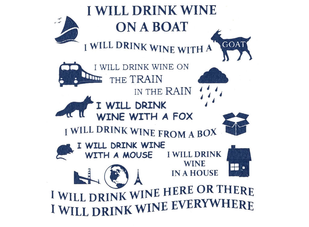 "Wine Poem   3-3/4""  Blue  #1189  Fused Glass Decal"