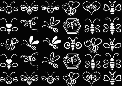 "Baby Bumble Bees 30 pcs 1"" on 5"" X 7"" Card  White #1190 Fused Glass Decals"