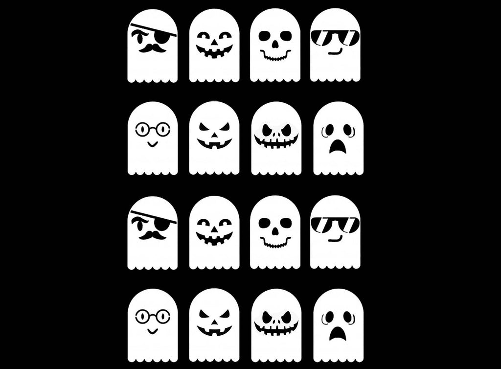 "Halloween Ghastly Ghosts 16 pcs 1""  White #1197 Fused Glass Decals"