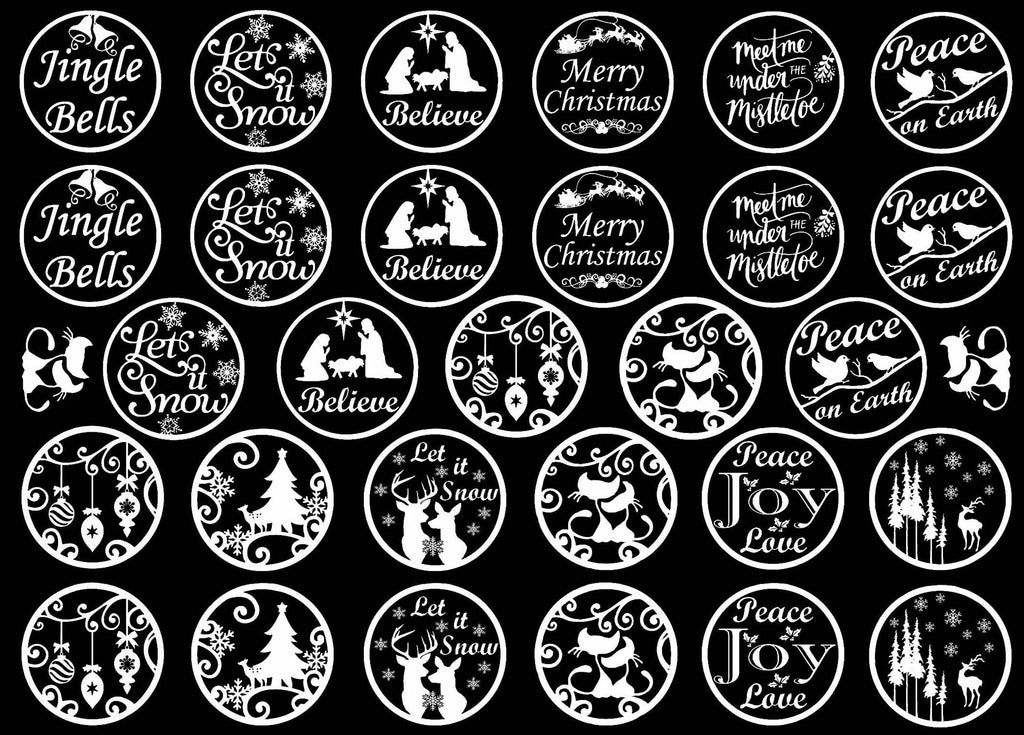 "Christmas Rounds 31 pcs 1"" dia on 5"" X 7"" Card  White #1198 Fused Glass Decals"